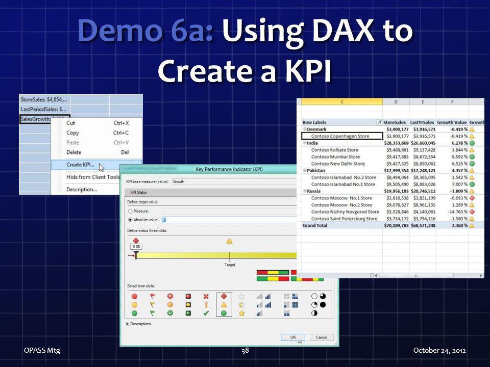 Demo 6a: Using DAX to Create a KPI