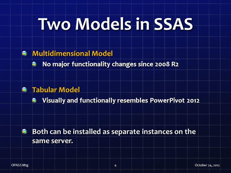 Two Models in SSAS Multidimensional Model Tabular Model