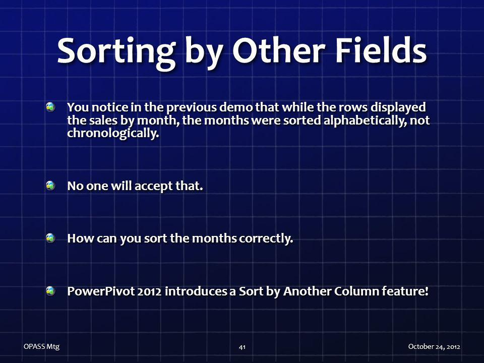 Sorting by Other Fields