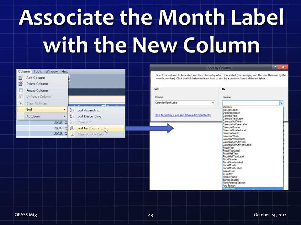 Associate the Month Label with the New Column