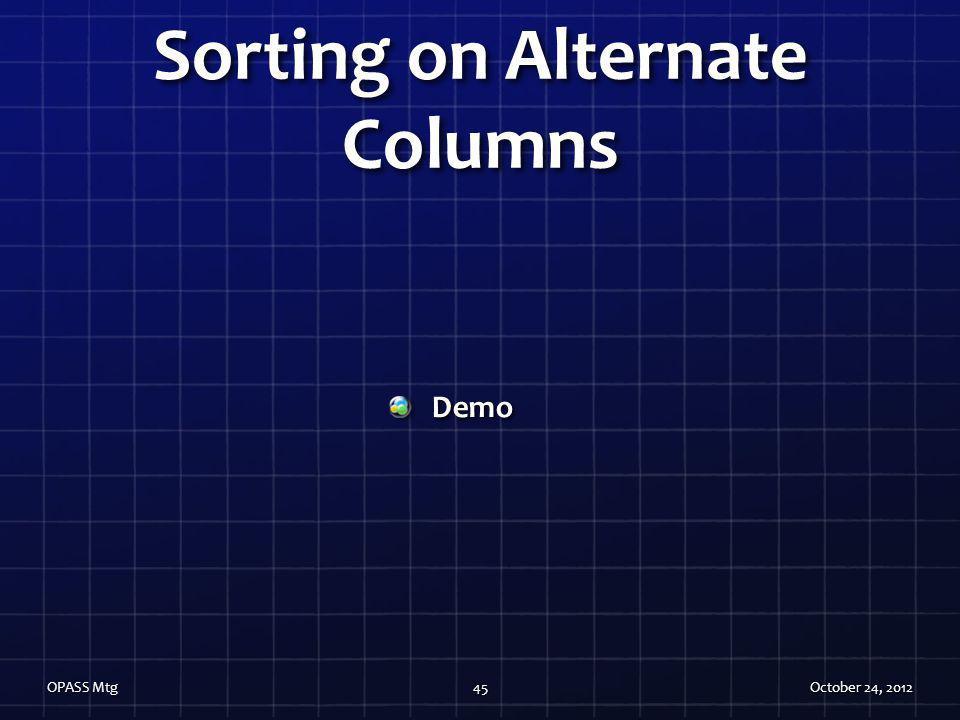 Sorting on Alternate Columns