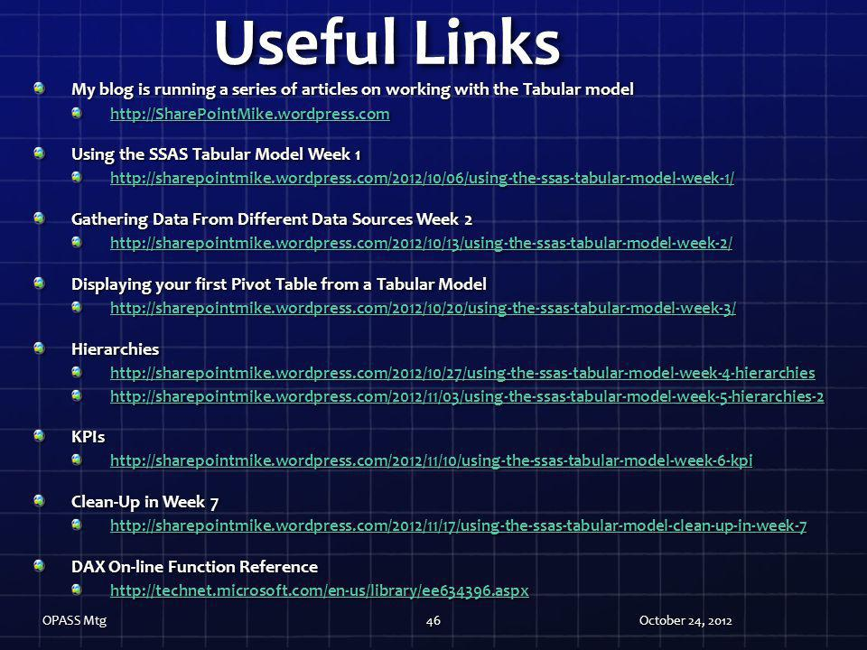 Useful Links My blog is running a series of articles on working with the Tabular model. http://SharePointMike.wordpress.com.