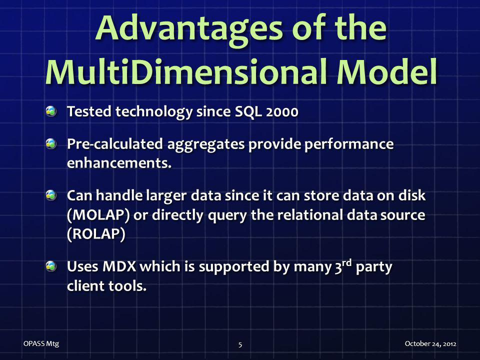 Advantages of the MultiDimensional Model