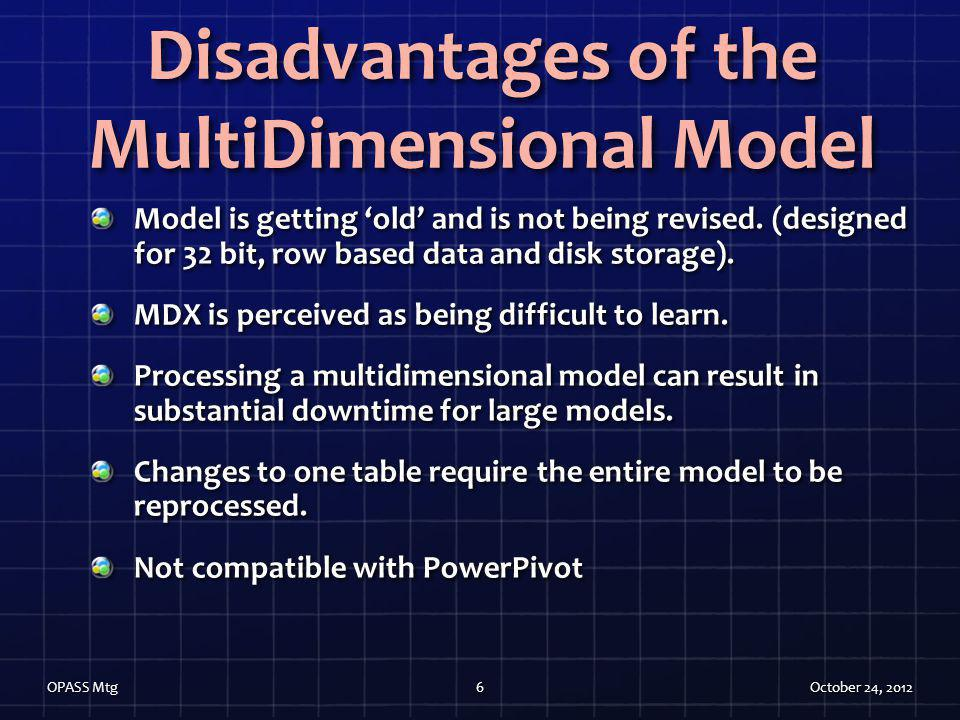 Disadvantages of the MultiDimensional Model