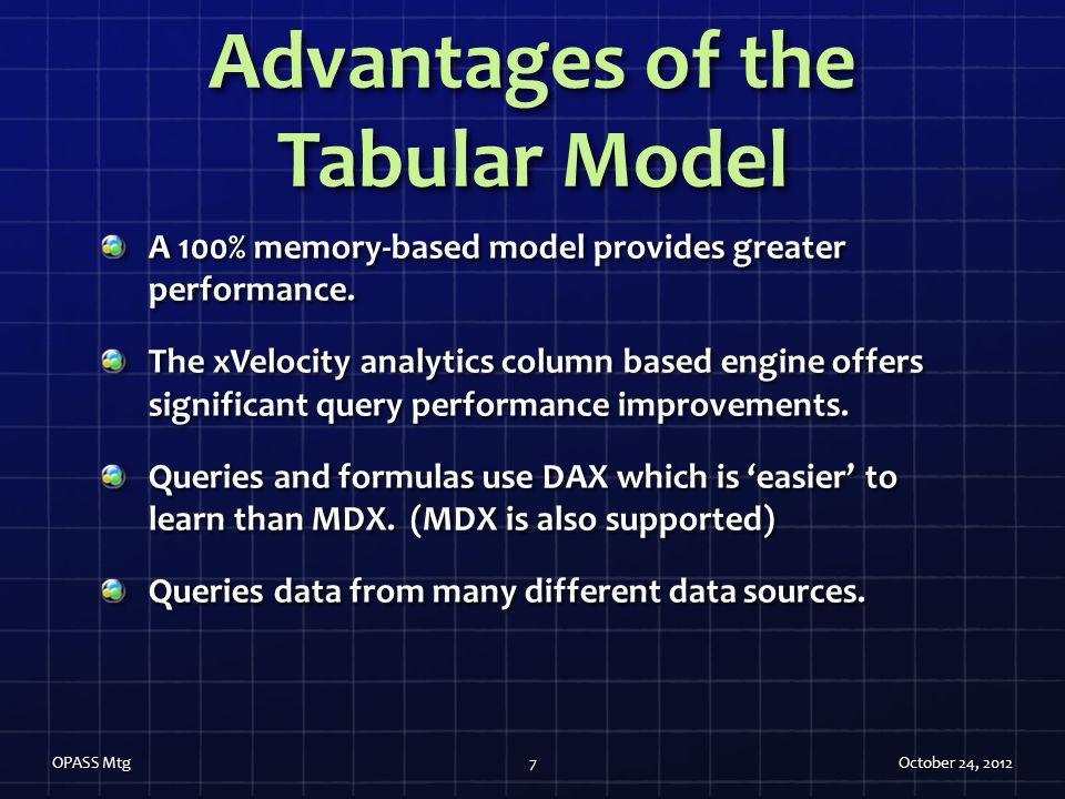 Advantages of the Tabular Model