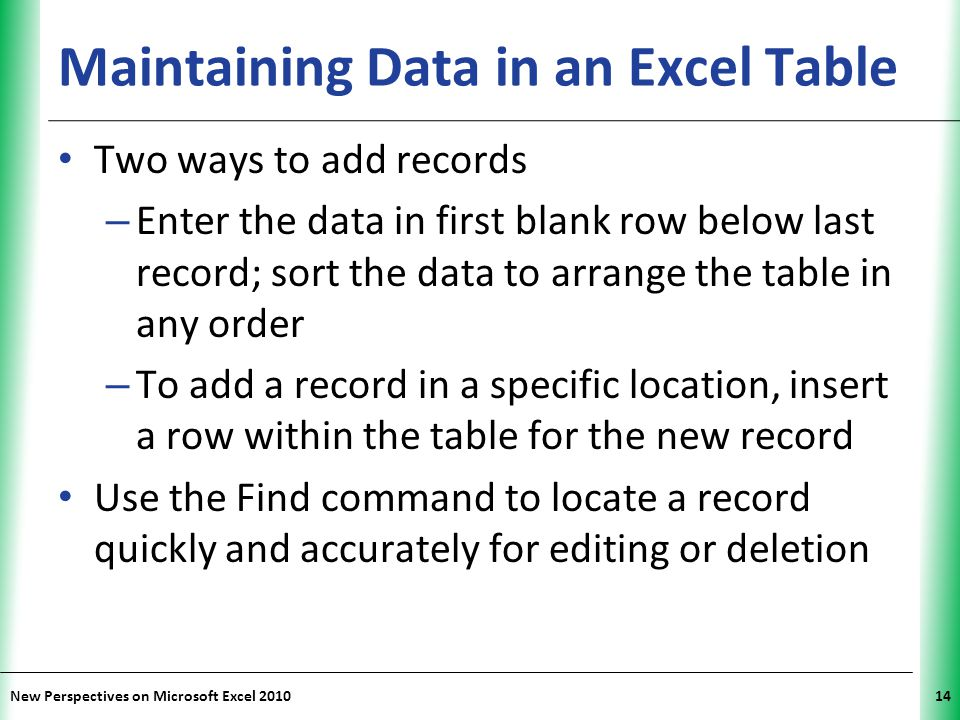 Maintaining Data in an Excel Table