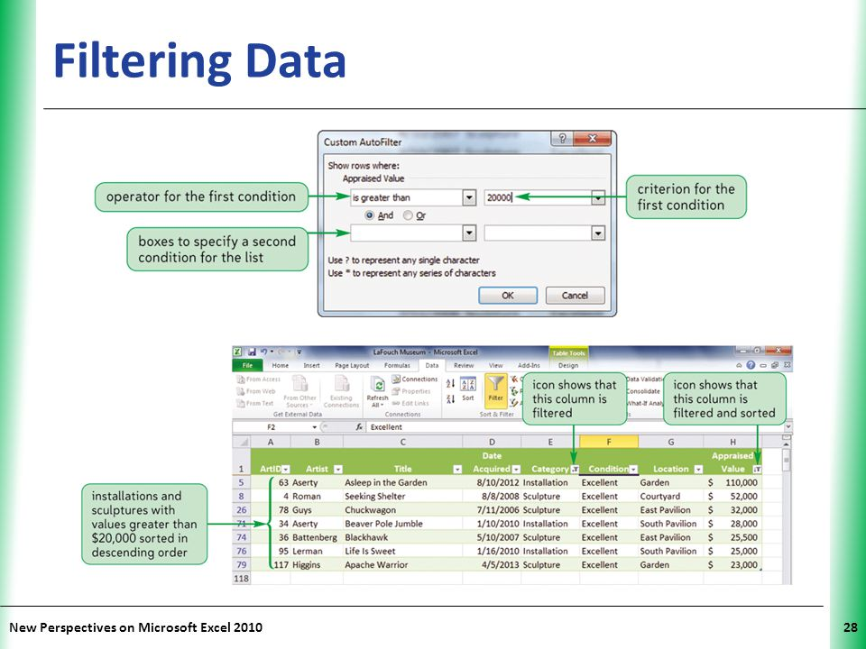 Filtering Data New Perspectives on Microsoft Excel 2010