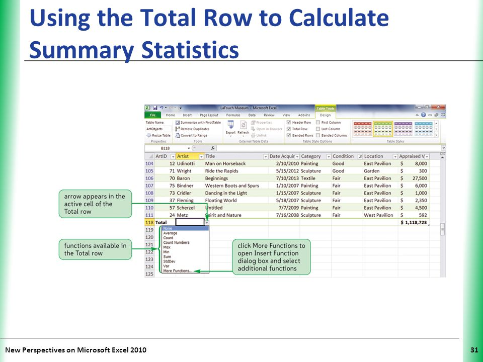 Using the Total Row to Calculate Summary Statistics