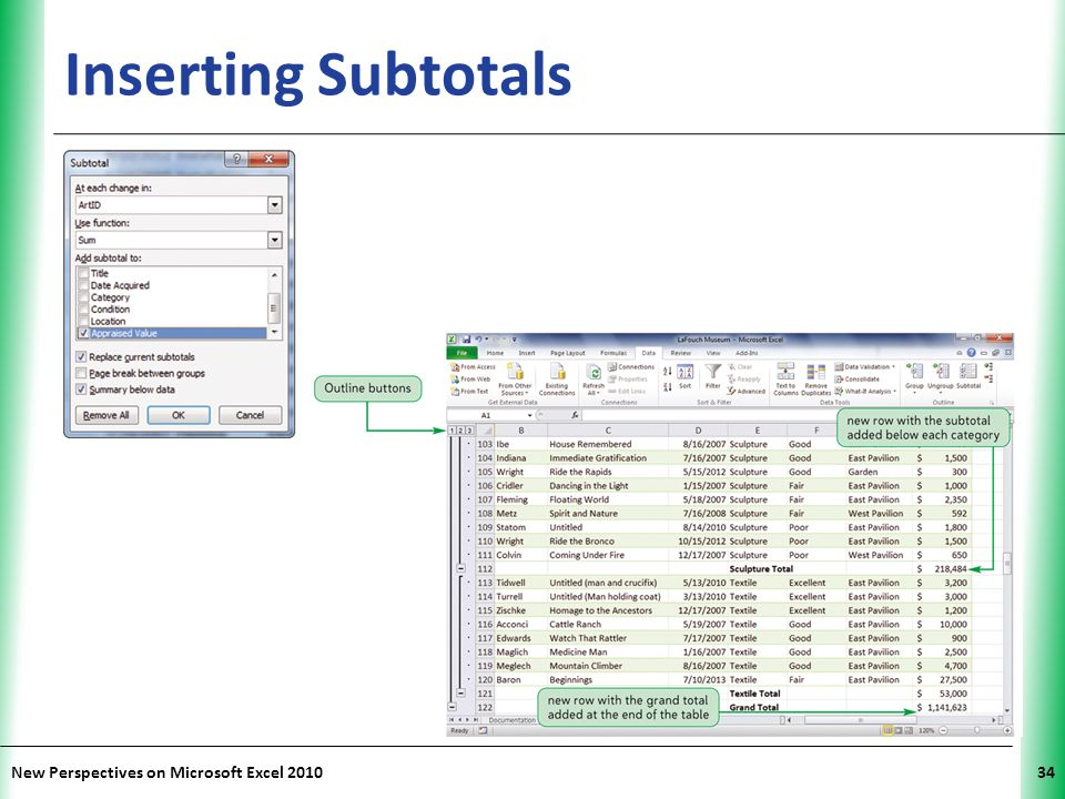 Inserting Subtotals New Perspectives on Microsoft Excel 2010