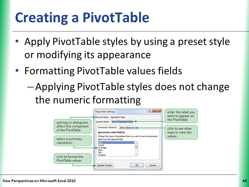 Creating a PivotTable Apply PivotTable styles by using a preset style or modifying its appearance. Formatting PivotTable values fields.