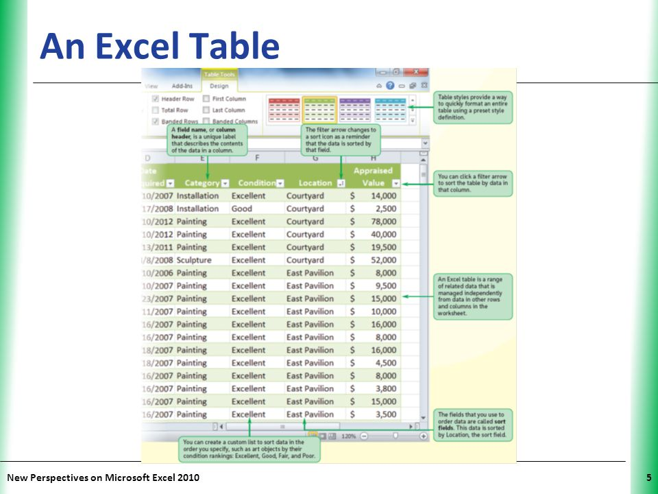 An Excel Table New Perspectives on Microsoft Excel 2010