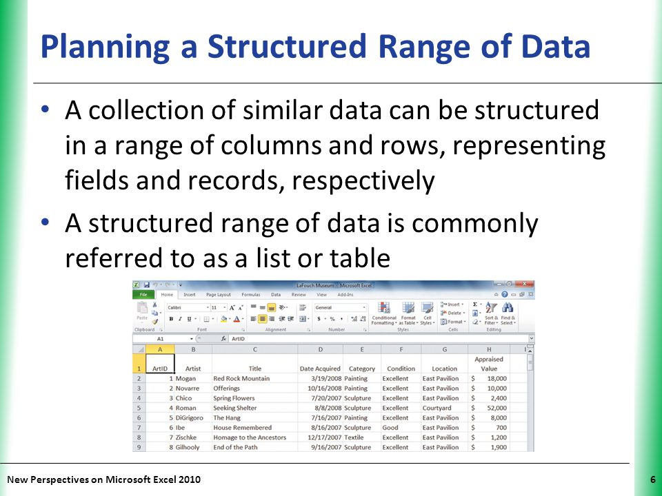 Planning a Structured Range of Data