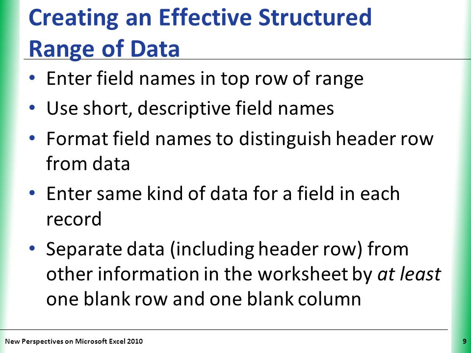Creating an Effective Structured Range of Data