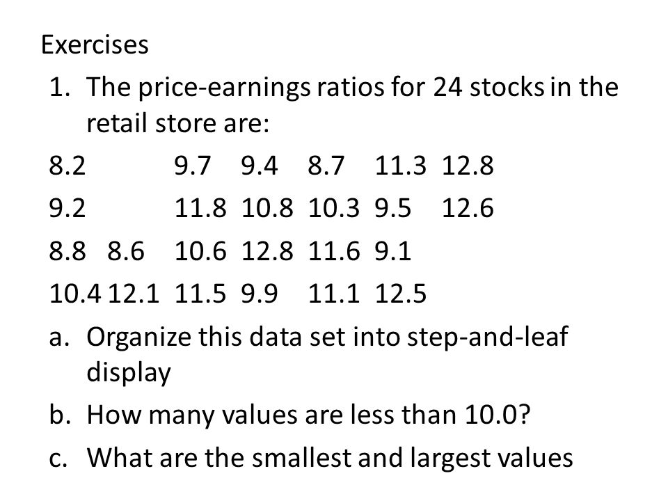 Exercises The price-earnings ratios for 24 stocks in the retail store are: 8.2 9.7 9.4 8.7 11.3 12.8.
