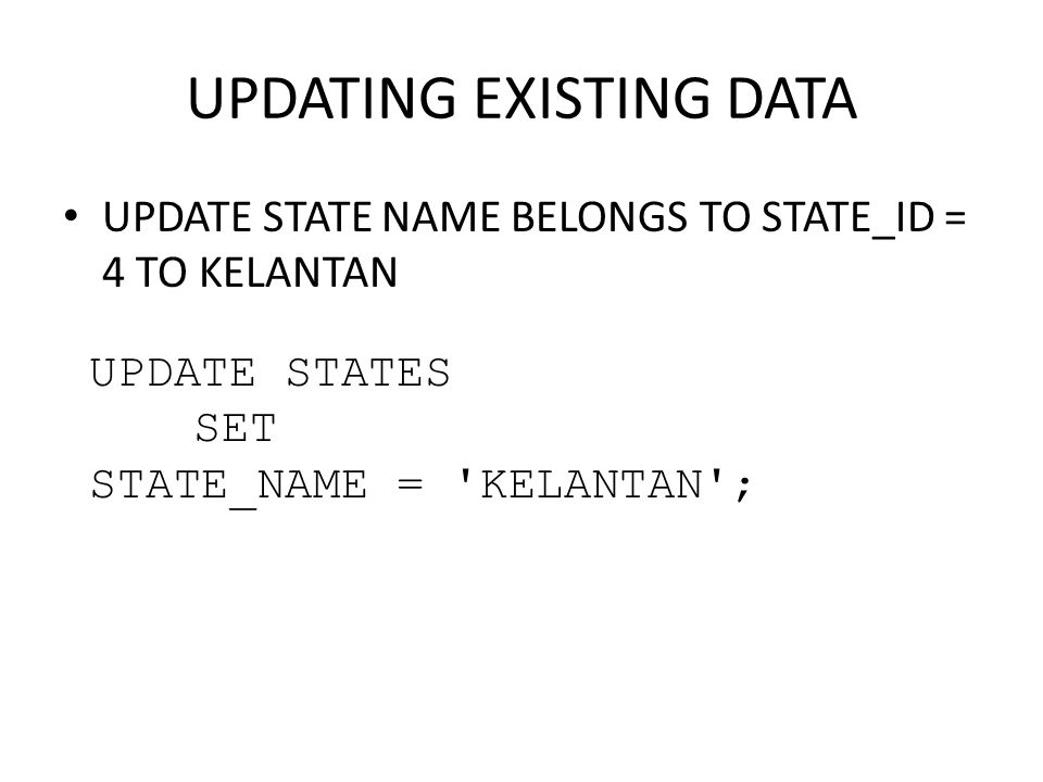 UPDATING EXISTING DATA