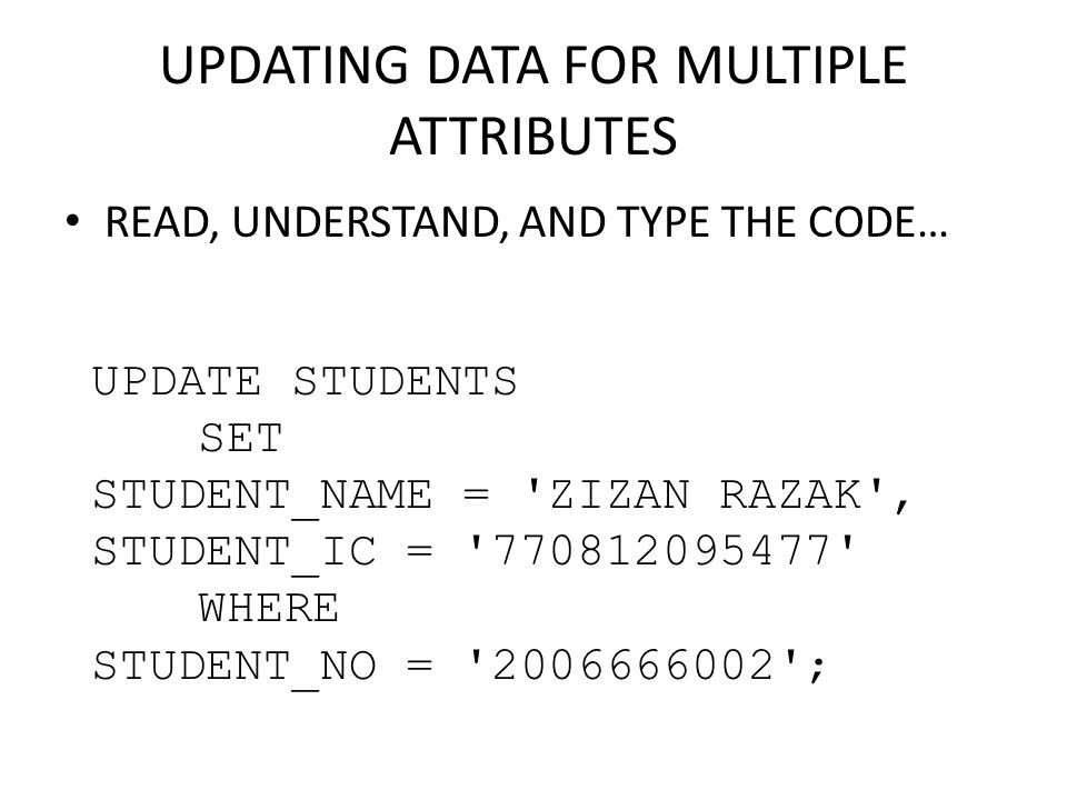 UPDATING DATA FOR MULTIPLE ATTRIBUTES