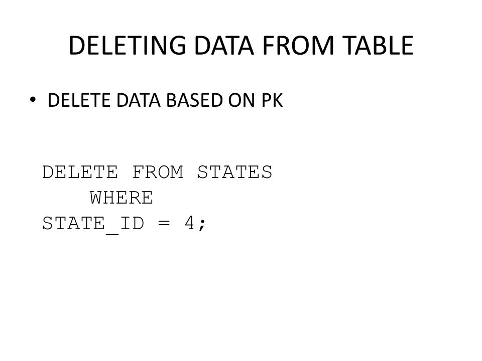 DELETING DATA FROM TABLE