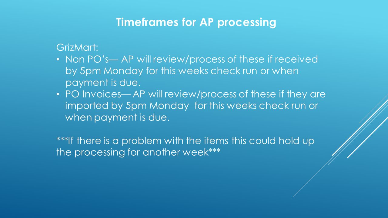 Timeframes for AP processing