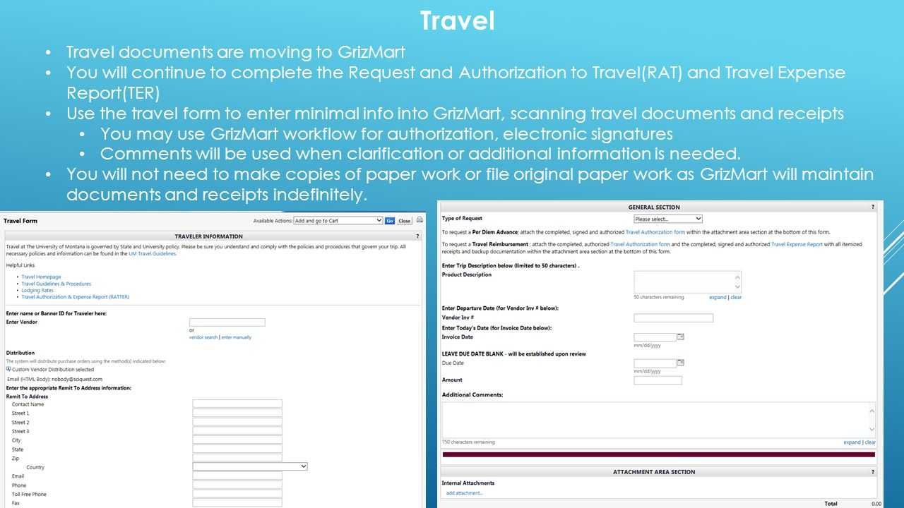 Travel Travel documents are moving to GrizMart
