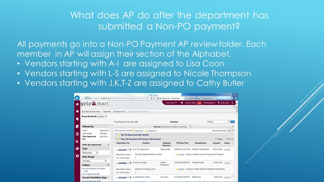 What does AP do after the department has submitted a Non-PO payment