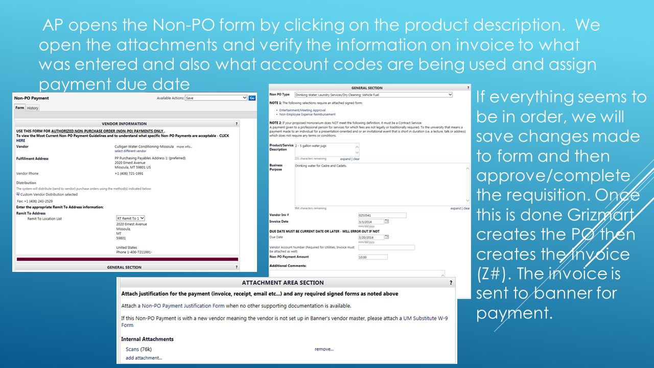 AP opens the Non-PO form by clicking on the product description