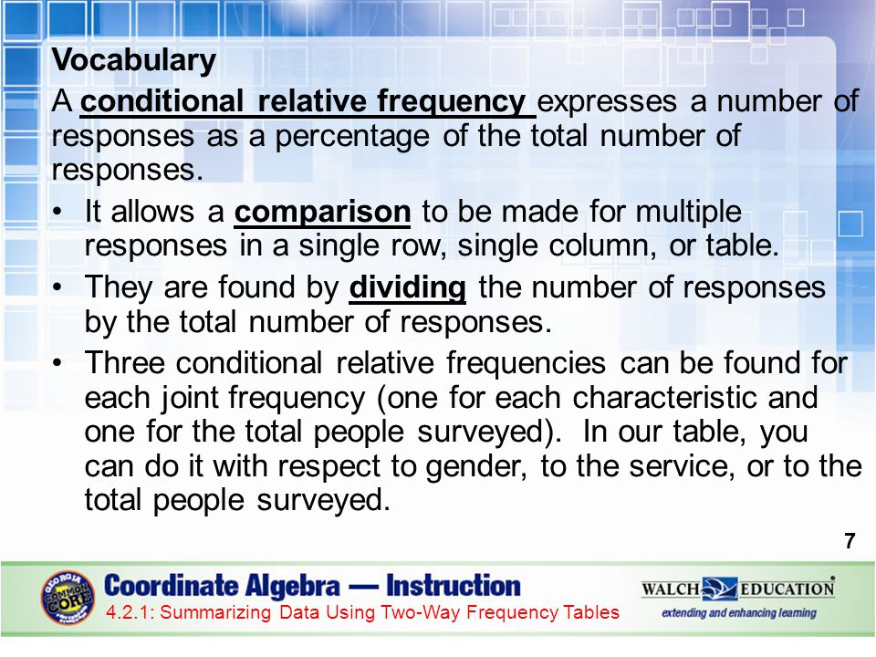 Vocabulary A conditional relative frequency expresses a number of responses as a percentage of the total number of responses.