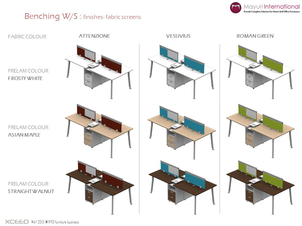 Benching W/S : finishes- fabric screens