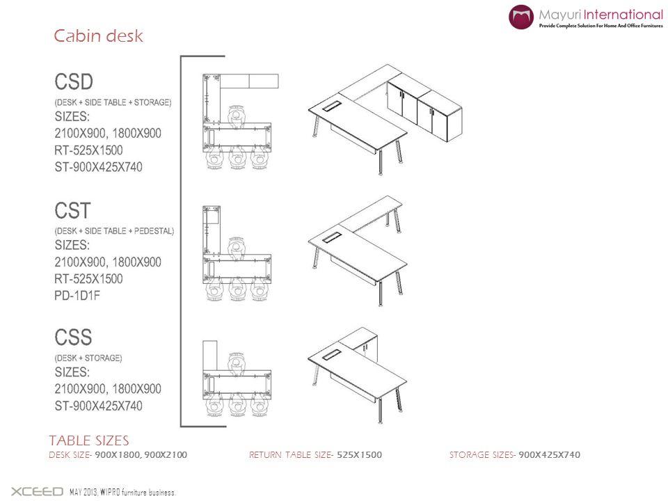 Cabin desk Table sizes. Desk size- 900X1800, 900X2100 return table size- 525X1500 Storage sizes- 900X425X740.