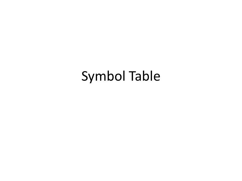 Symbol Table