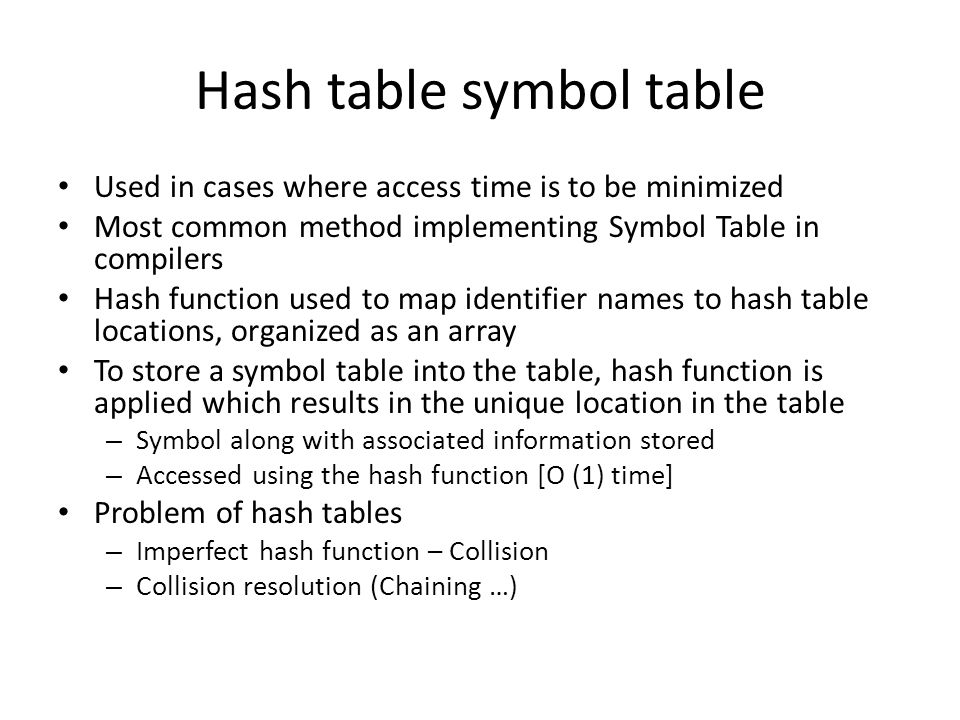 Hash table symbol table
