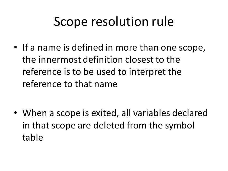 Scope resolution rule