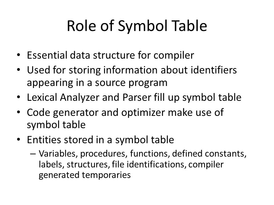 Role of Symbol Table Essential data structure for compiler