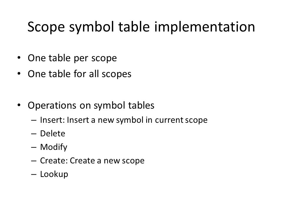 Scope symbol table implementation