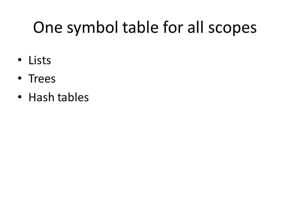 One symbol table for all scopes