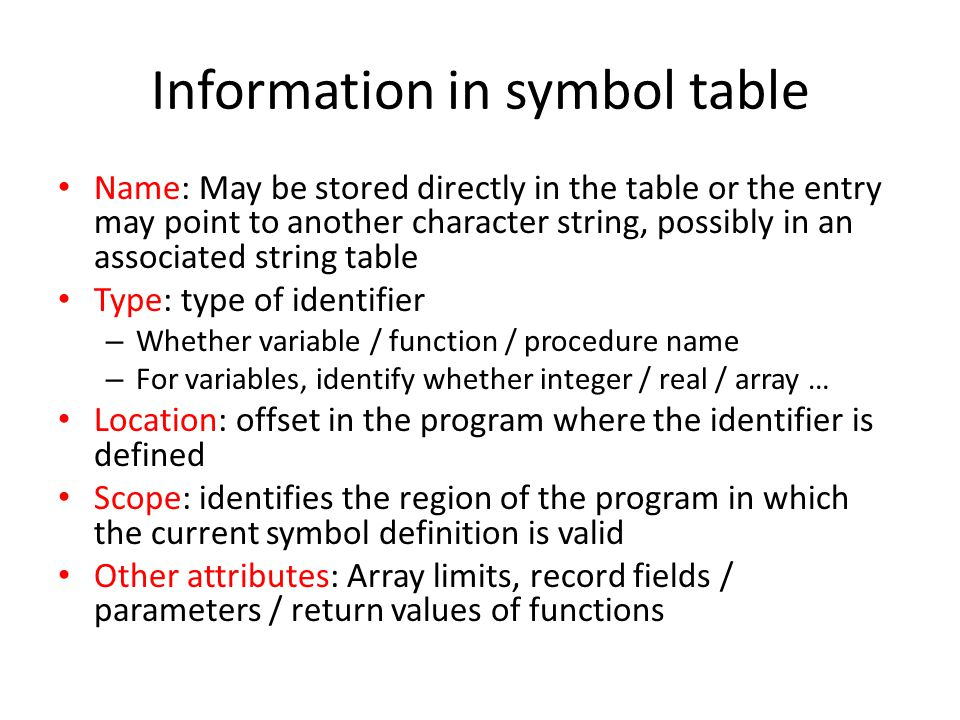 Information in symbol table