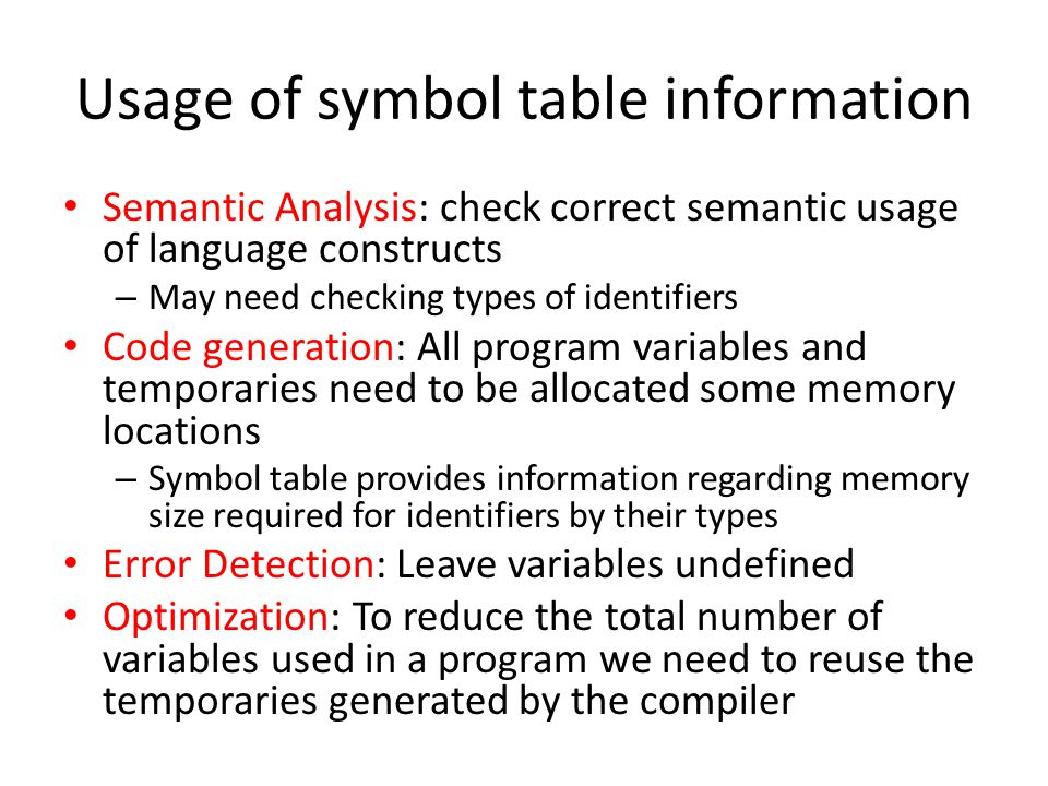 Usage of symbol table information