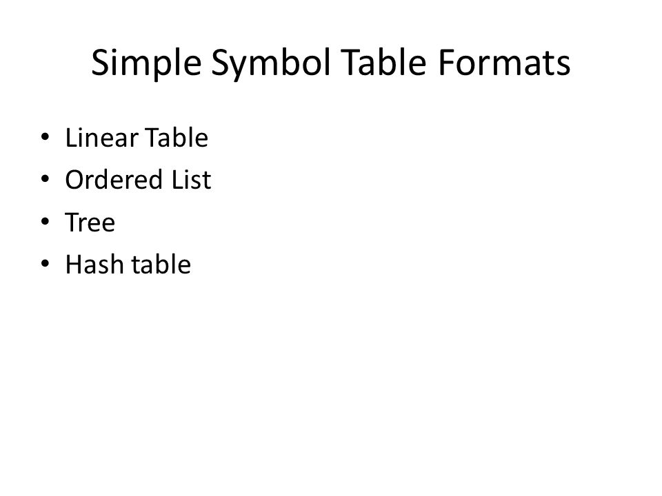 Simple Symbol Table Formats