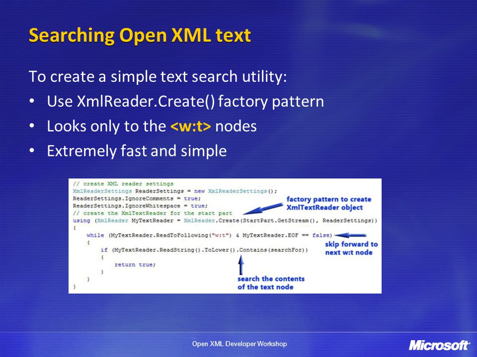 Searching Open XML text