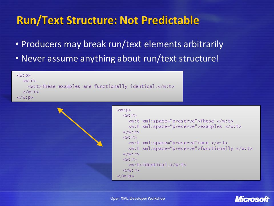 Run/Text Structure: Not Predictable