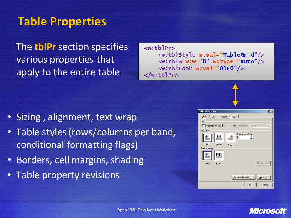4/1/2017 Table Properties. The tblPr section specifies various properties that apply to the entire table.