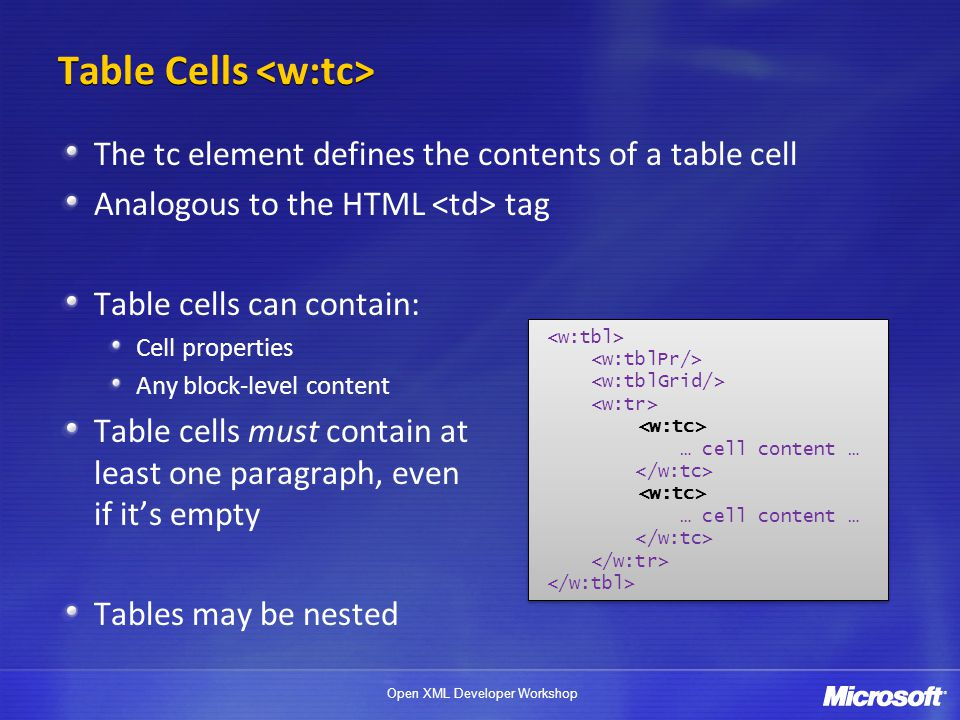 Table Cells <w:tc>