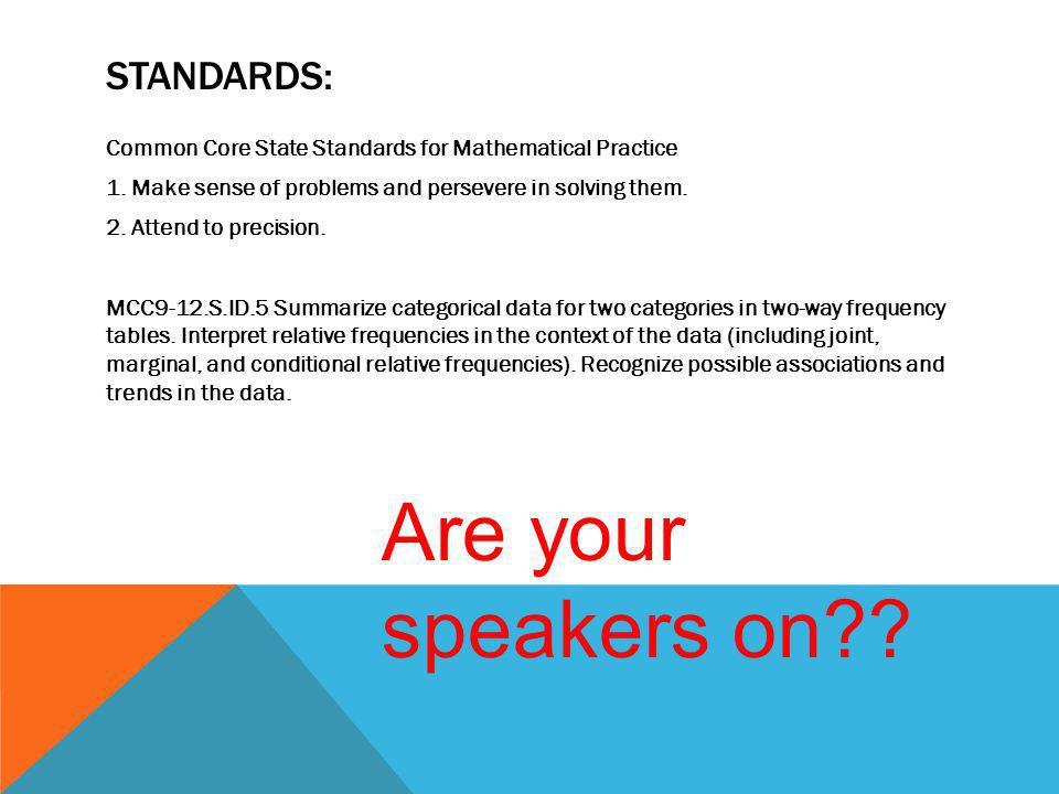 Are your speakers on Standards: