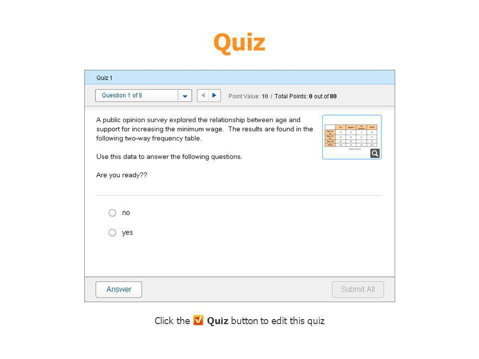 Click the Quiz button to edit this quiz
