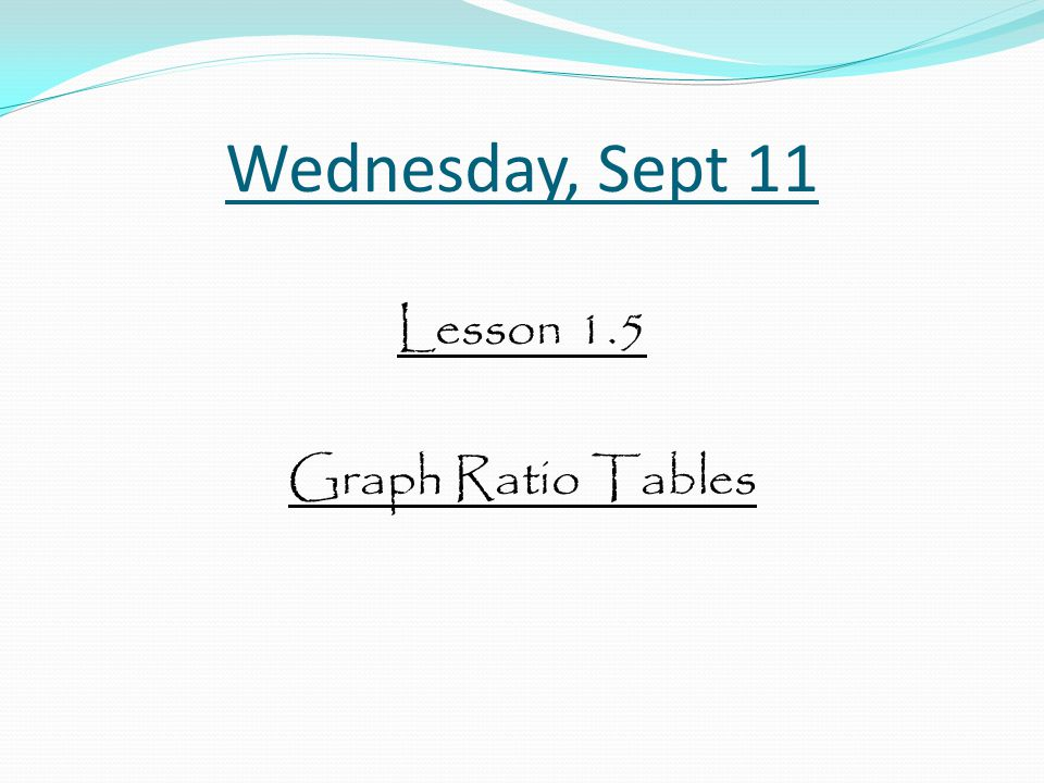 Lesson 1.5 Graph Ratio Tables