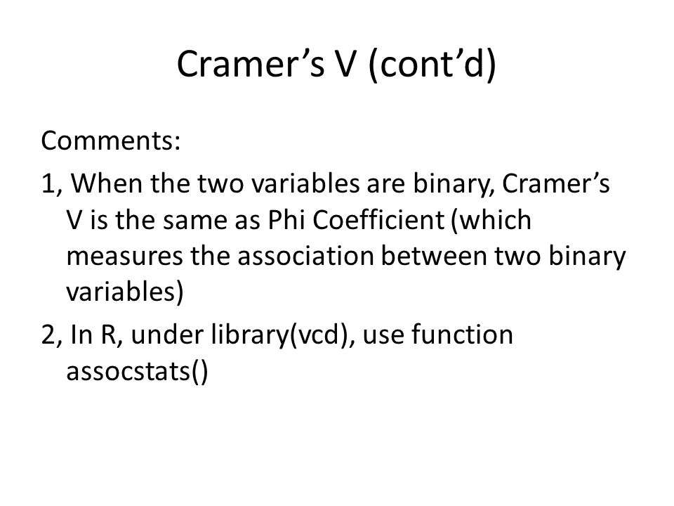Cramer's V (cont'd)