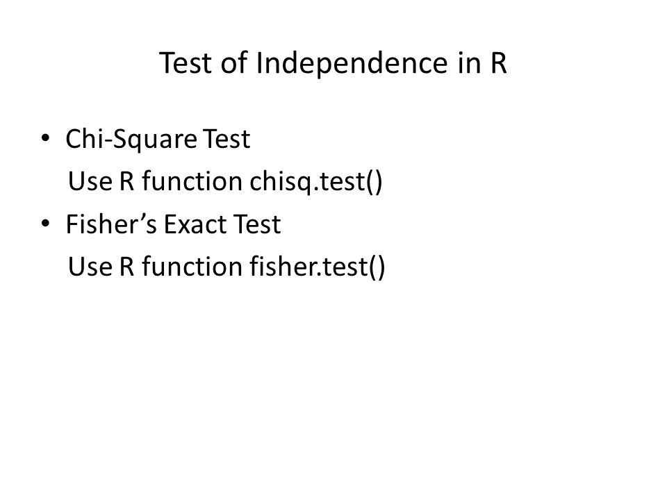 Test of Independence in R