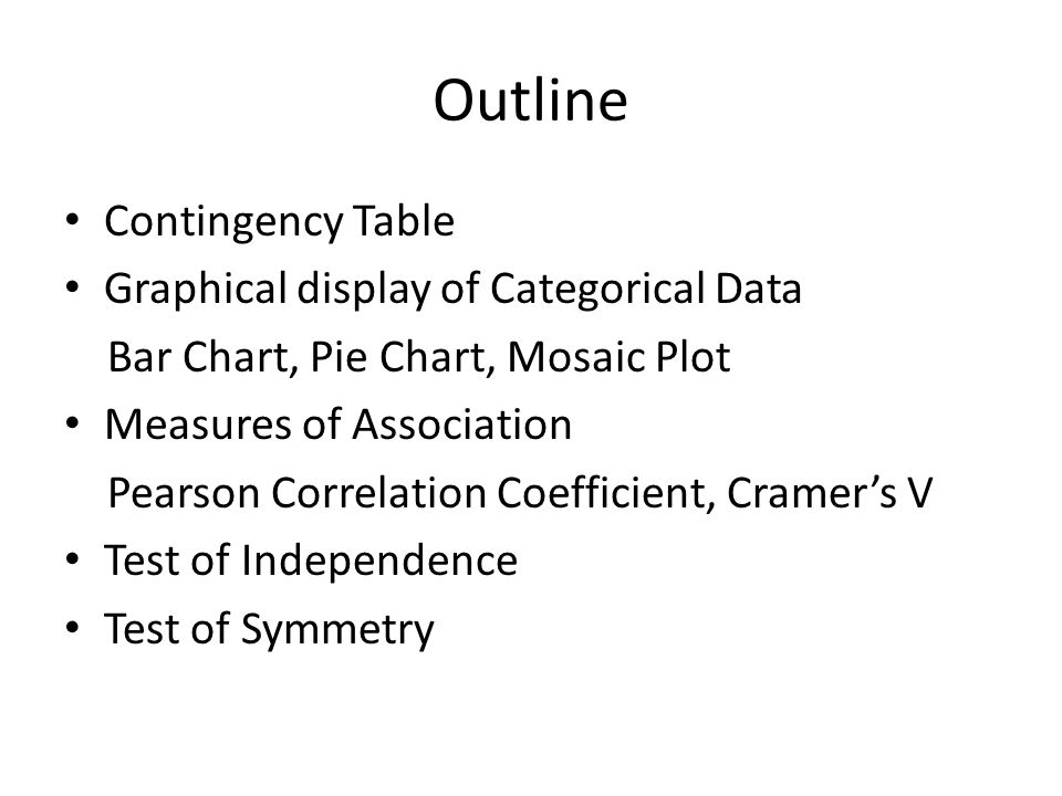 Outline Contingency Table Graphical display of Categorical Data