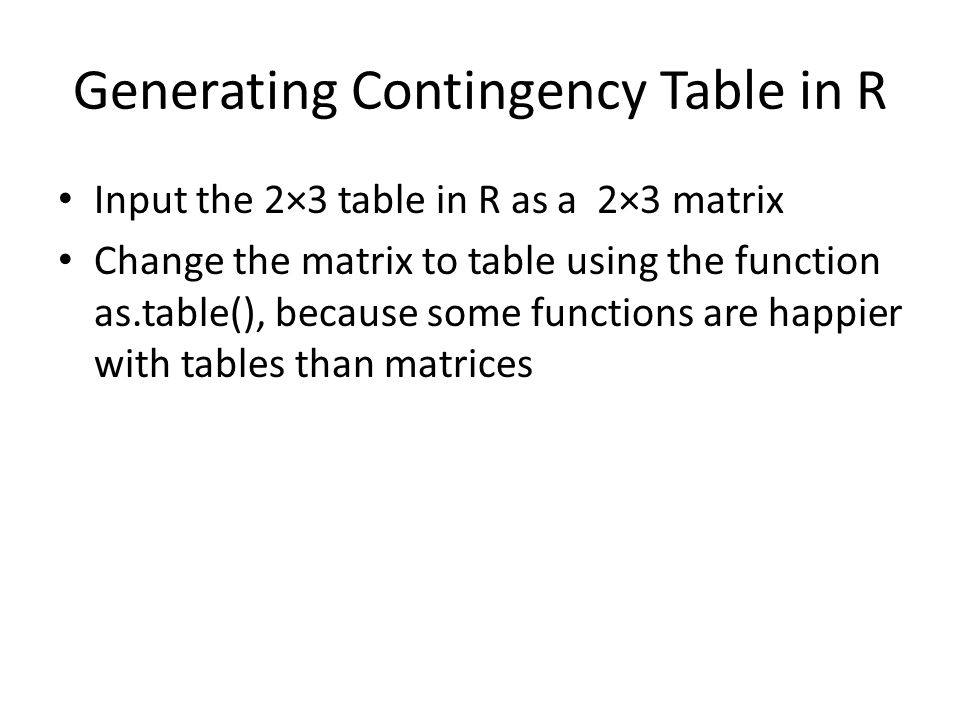 Generating Contingency Table in R