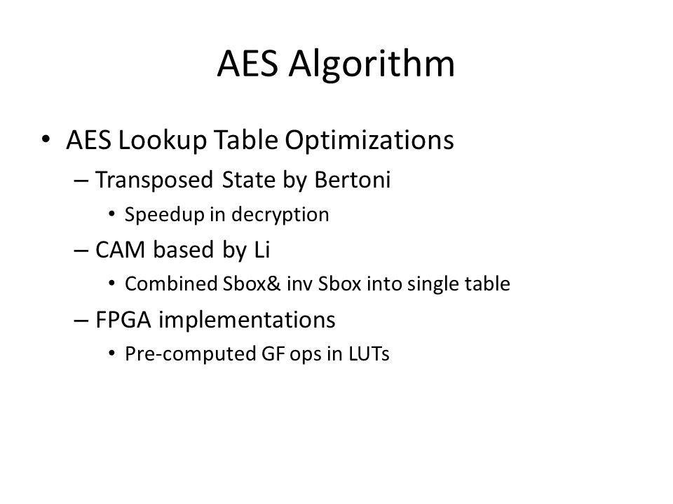 AES Algorithm AES Lookup Table Optimizations