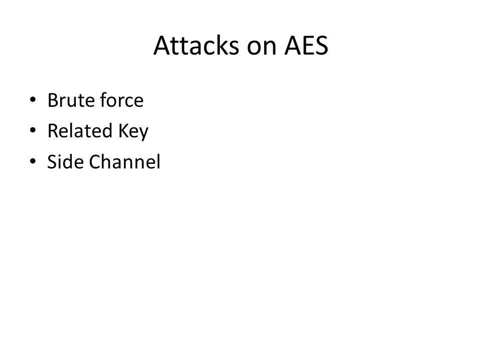 Attacks on AES Brute force Related Key Side Channel